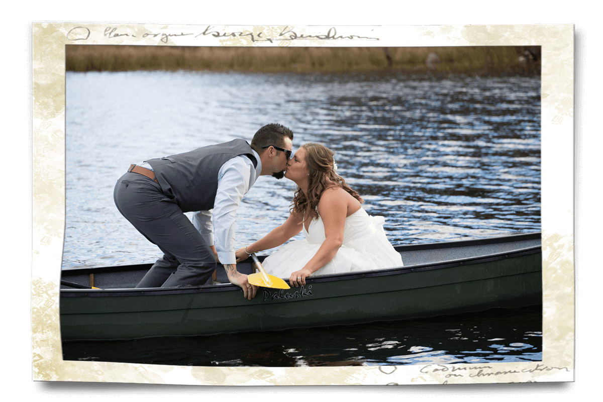wedding kiss in the canoe Marten River