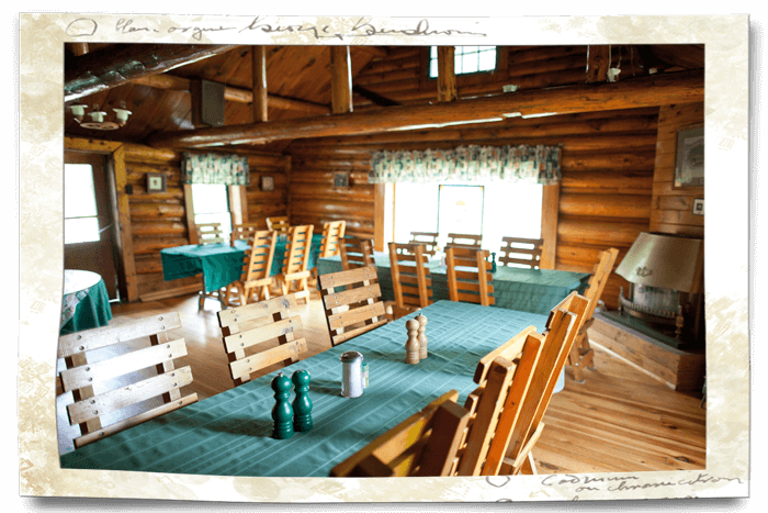 dining room at marten river lodge