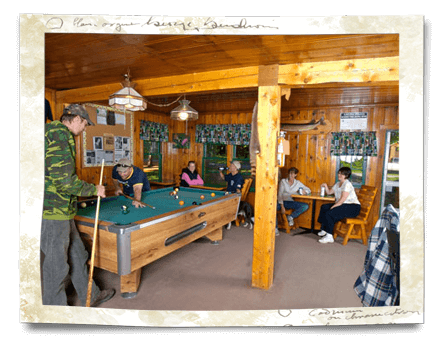 playing pool in the lodge